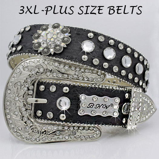3XL-474-BLACK - WHOLESALE RHINESTONE PLUS SIZE BELTS