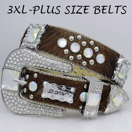 3XL-1050-BRN-BRINDLE - WHOLESALE RHINESTONE PLUS SIZE BELTS