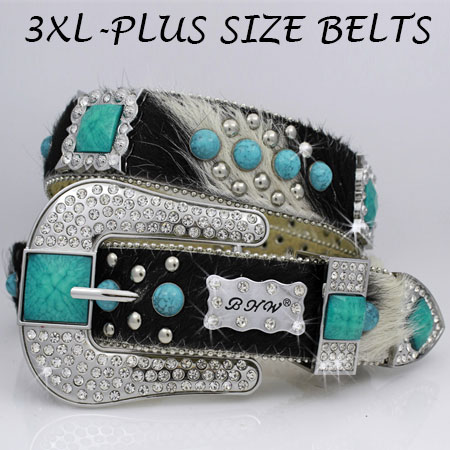3XL-1050-NATURAL-TQ - WHOLESALE RHINESTONE PLUS SIZE BELTS