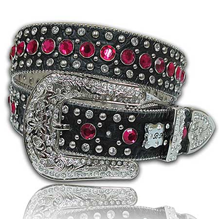 423-BK-HTPK--(5PC-SET) - WHOLESALE WESTERN RHINESTONE BELTS /BHW BRAND BELTS