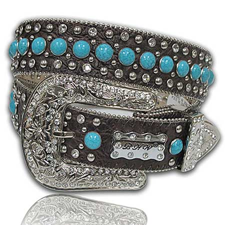 423-BRN-TQ-STONE--(5PC-SET) - WHOLESALE WESTERN RHINESTONE BELTS /BHW BRAND BELTS