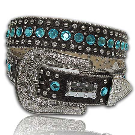423-BRN-BLUE--(5PC-SET) - WHOLESALE WESTERN RHINESTONE BELTS /BHW BRAND BELTS