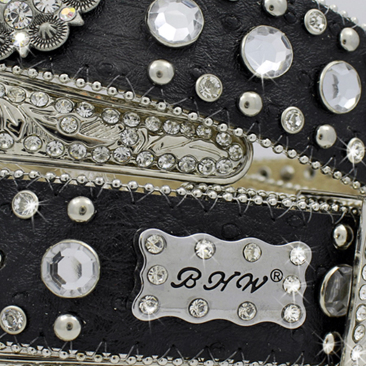 4XL-474-BLACK - WHOLESALE RHINESTONE PLUS SIZE BELTS
