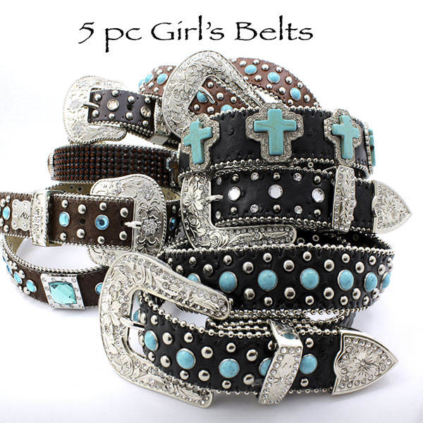 KIDS-BULK-5PC-SET - WOLESALE ASSORTED WESTERN GIRL'S/KIDS RHINESTONE BELTS