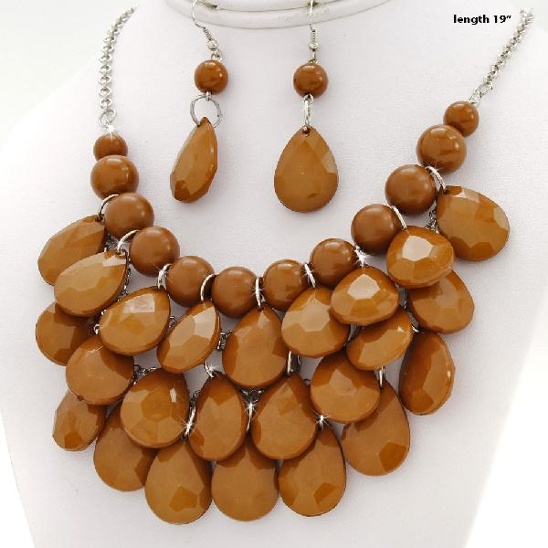 500001-BROWN - WHOLESALE CHUNKY STATEMENT NECKLACE