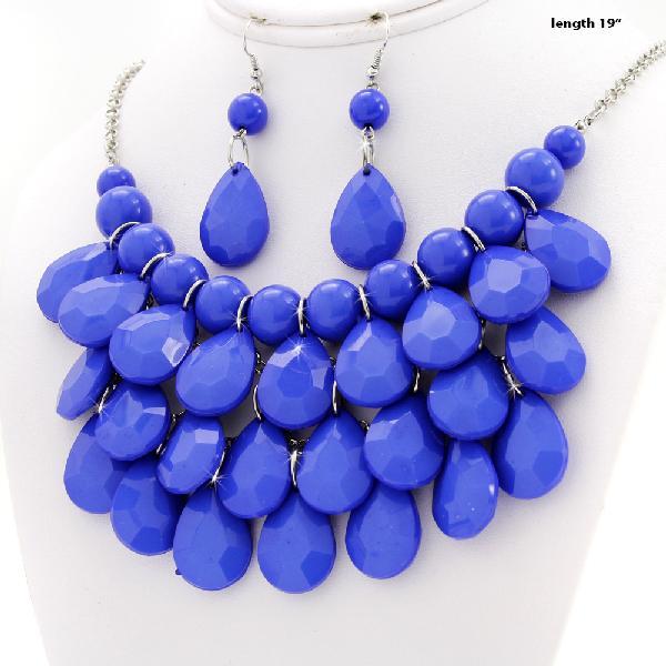 500001-ROYAL-BLUE - WHOLESALE CHUNKY STATEMENT NECKLACE