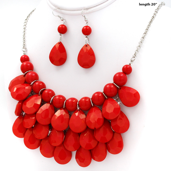 500001-RED - WHOLESALE CHUNKY STATEMENT NECKLACE