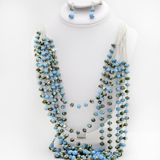 500082-TURQ - WHOLESALE GLASS CRYSTAL NECKLACE SET