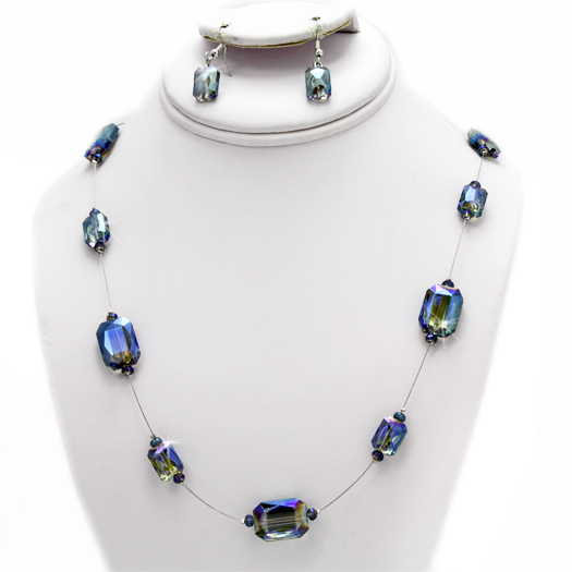 500102-BLUE - WHOLESALE GLASS CRYSTAL NECKLACE SET