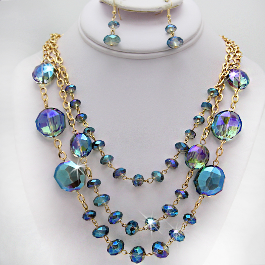 500105-BLUE - WHOLESALE GLASS CRYSTAL NECKLACE SET