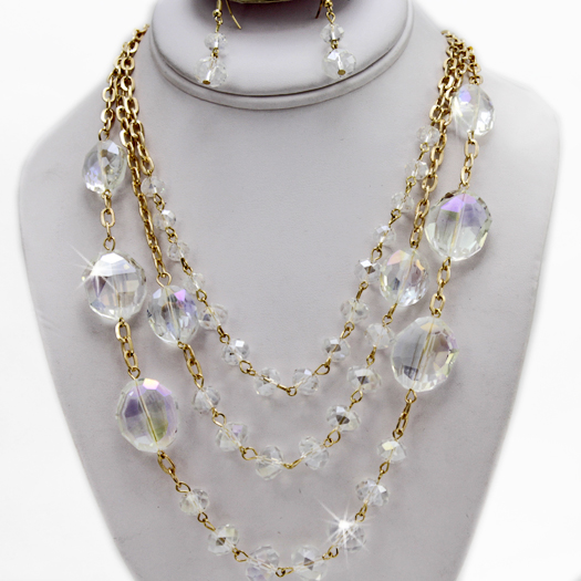 500105-CLEAR - WHOLESALE GLASS CRYSTAL NECKLACE SET