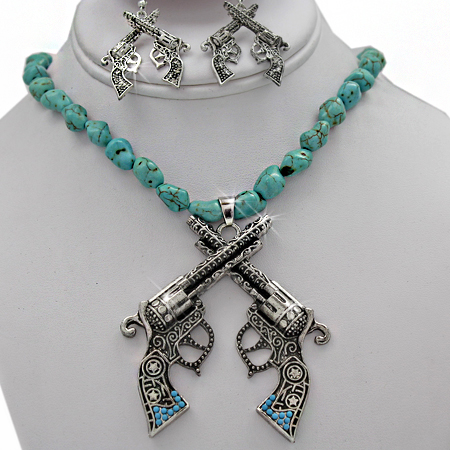 NKL-50109-(3PC-SET) - WHOLESALE GENUINE CRYSTAL AND GLASS NECKLACE SET