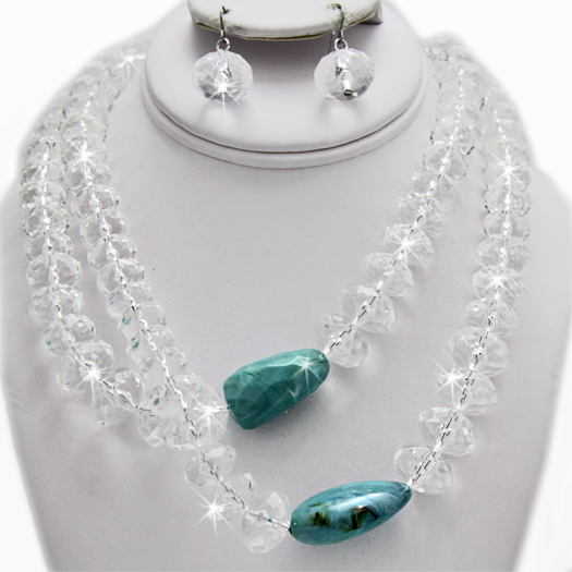 500123-CLEAR-TQ - WHOLESALE GLASS CRYSTAL NECKLACE SET