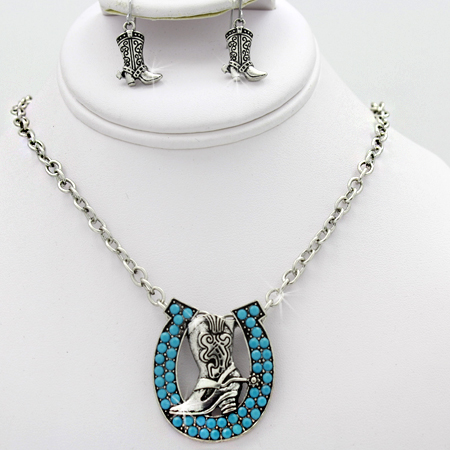 NKL-50118-(3PC-SET) - WHOLESALE WESTERN TURQUOISE JEWELRY