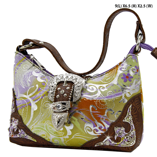 BHW52-W10FL-PURPLE - KIDS RHINESTONE BUCKLE HANDBAGS