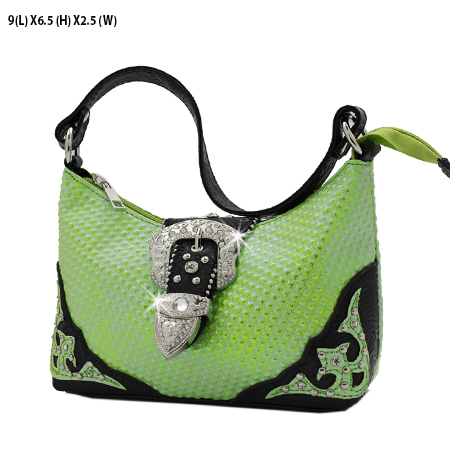 52-W10-208-GRN - KIDS RHINESTONE BUCKLE HANDBAGS