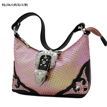 52-W10-208-HTPK - KIDS RHINESTONE BUCKLE HANDBAGS