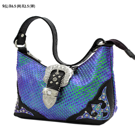 52-W10-208-PUR - KIDS RHINESTONE BUCKLE HANDBAGS
