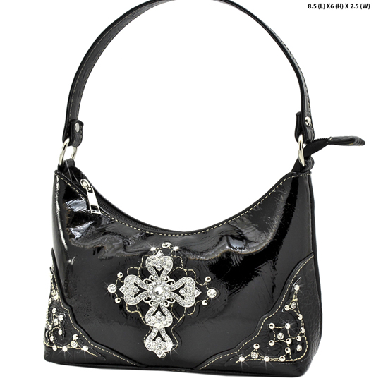 BHW52-RA-LCR-BLACK - KIDS GIRLS RHINESTONE CROSS PURSES CROSS HANDBAGS