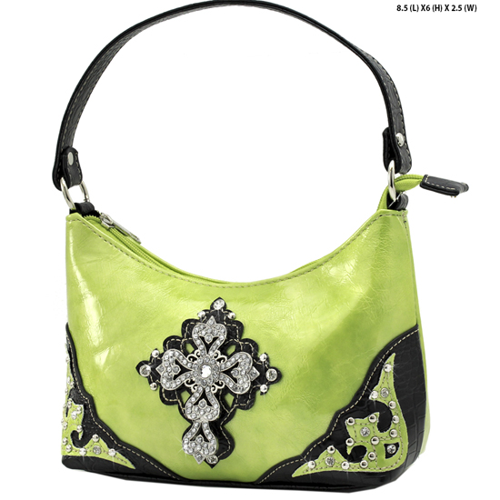 BHW52-RA-LCR-GREEN - KIDS GIRLS RHINESTONE CROSS PURSES CROSS HANDBAGS