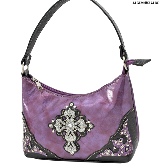 BHW52-RA-LCR-PURPLE - KIDS GIRLS RHINESTONE CROSS PURSES CROSS HANDBAGS