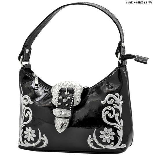 BHW52-BKLE-RA-12-BLACK - KIDS GIRLS RHINESTONE BUCKLE PURSES BUCKLE HANDBAGS BAGS