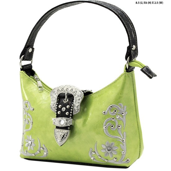 BHW52-BKLE-RA-12-GREEN - KIDS GIRLS RHINESTONE BUCKLE PURSES BUCKLE HANDBAGS BAGS