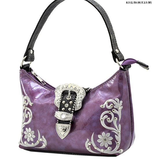 BHW52-BKLE-RA-12-PURPLE - KIDS GIRLS RHINESTONE BUCKLE PURSES BUCKLE HANDBAGS BAGS
