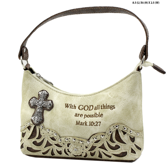 ALL-BHW52-BONE - KIDS GIRLS RHINESTONE CROSS BIBLE VERSE BAGS HANDBAGS