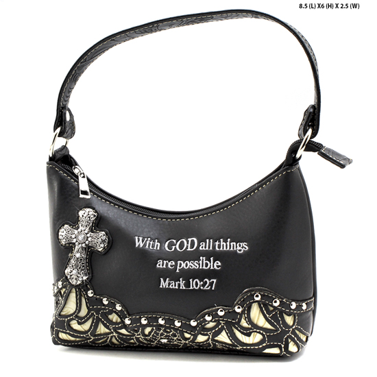 ALL-BHW52-BLK-BEIGE - KIDS GIRLS RHINESTONE CROSS BIBLE VERSE BAGS HANDBAGS