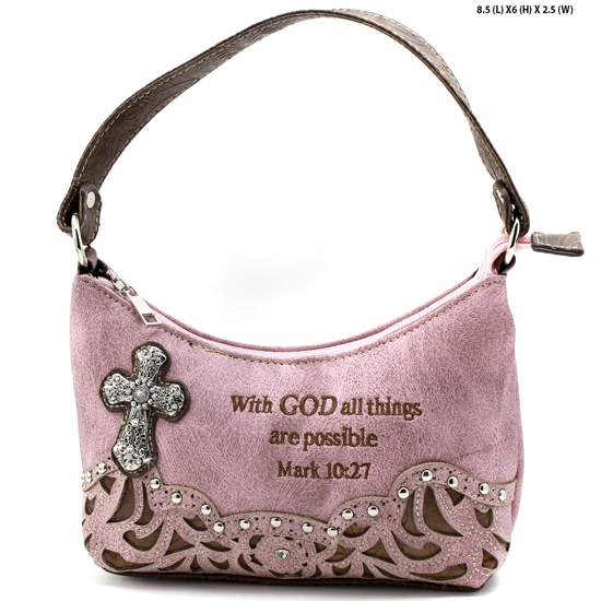 ALL-BHW52-PINK - KIDS GIRLS RHINESTONE CROSS BIBLE VERSE BAGS HANDBAGS