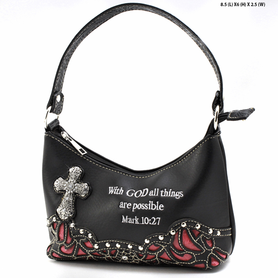 ALL-BHW52-BLK-HP - KIDS GIRLS RHINESTONE CROSS BIBLE VERSE BAGS HANDBAGS