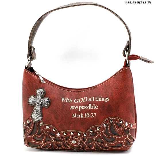 ALL-BHW52-RED - KIDS GIRLS RHINESTONE CROSS BIBLE VERSE BAGS HANDBAGS