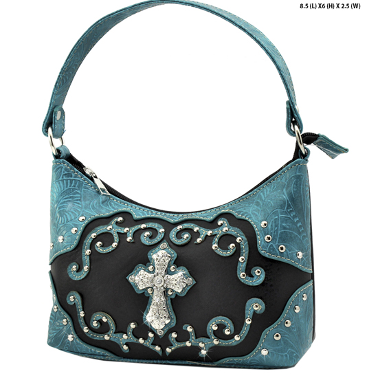 BHW52-W7-BLK-TQ - KIDS GIRLS RHINESTONE CROSS PURSES CROSS HANDBAGS