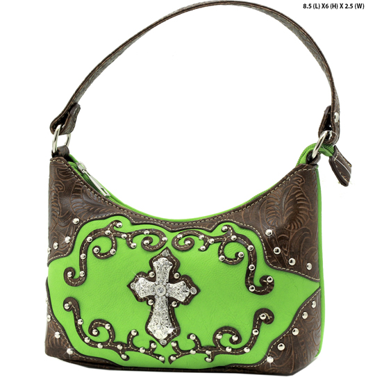 BHW52-W7-GREEN - KIDS GIRLS RHINESTONE CROSS PURSES CROSS HANDBAGS