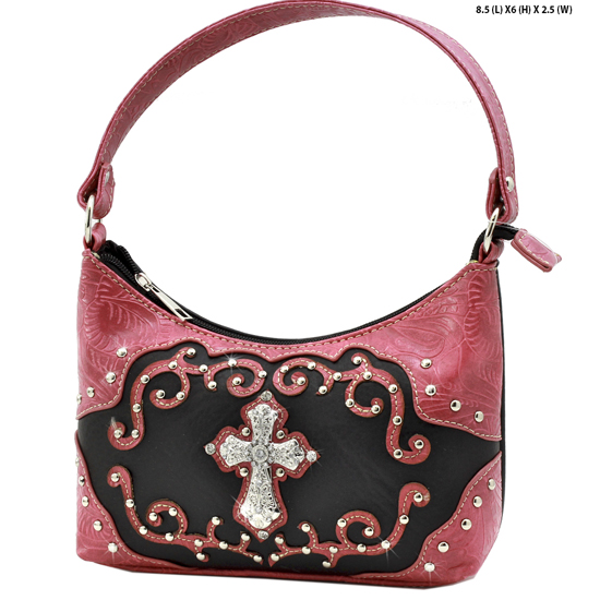 BHW52-W7-BLK-HTPK - KIDS GIRLS RHINESTONE CROSS PURSES CROSS HANDBAGS