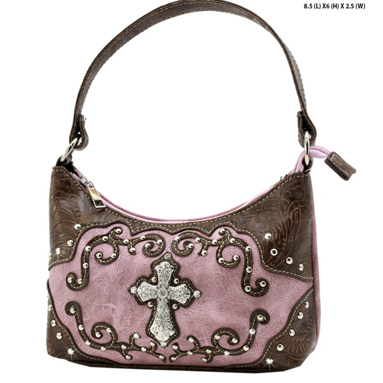 BHW52-W7-PINK - KIDS GIRLS RHINESTONE CROSS PURSES CROSS HANDBAGS
