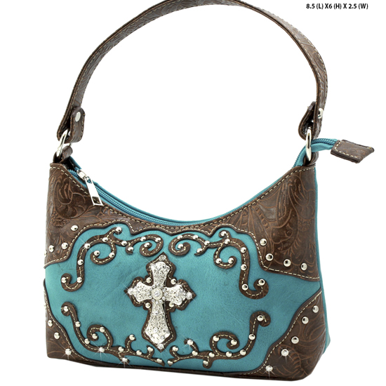 BHW52-W7-TURQ - KIDS GIRLS RHINESTONE CROSS PURSES CROSS HANDBAGS