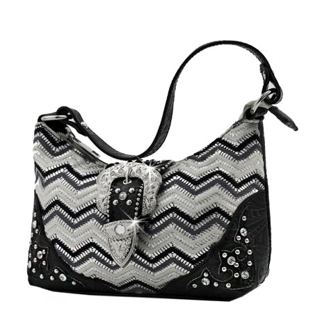 52-W10-Z168-BLACK - KIDS RHINESTONE BUCKLE HANDBAGS
