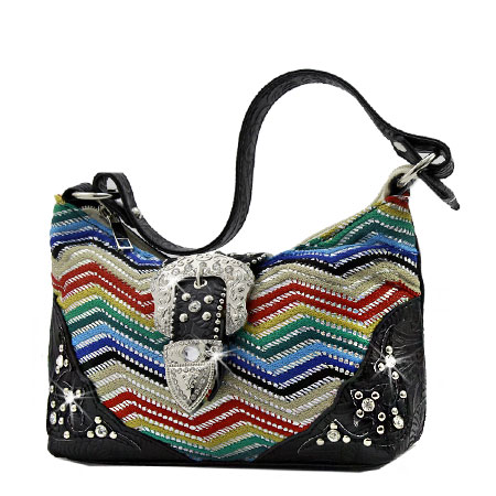52-W10-Z168-BLUE - KIDS RHINESTONE BUCKLE HANDBAGS