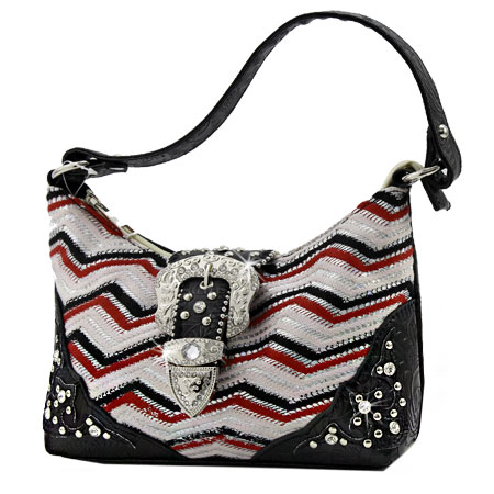 52-W10-Z168-RED - KIDS RHINESTONE BUCKLE HANDBAGS