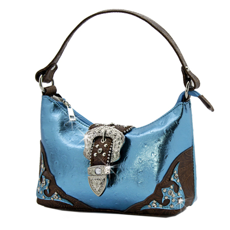 52-EE1967-BLUE - KIDS RHINESTONE BUCKLE HANDBAGS
