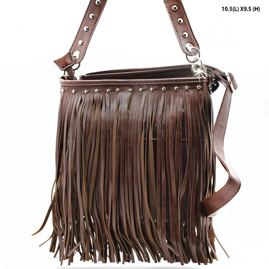 HIPSTER FRINGE BAGS - WHOLESALE CROSS BODY STYLE FRINGE HANDBAGS HIPSTER TASSEL PURSES