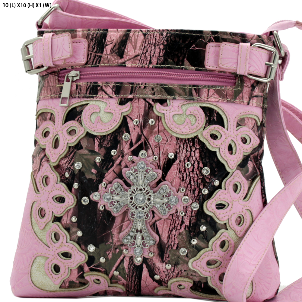 BHW-CROSS-W28-KW-604-PK-PINK - BHW-CROSS-W28-KW-604-PK-PINK WESTERN CAMO CONCEALED WEAPON MESSENGER HANDBAGS