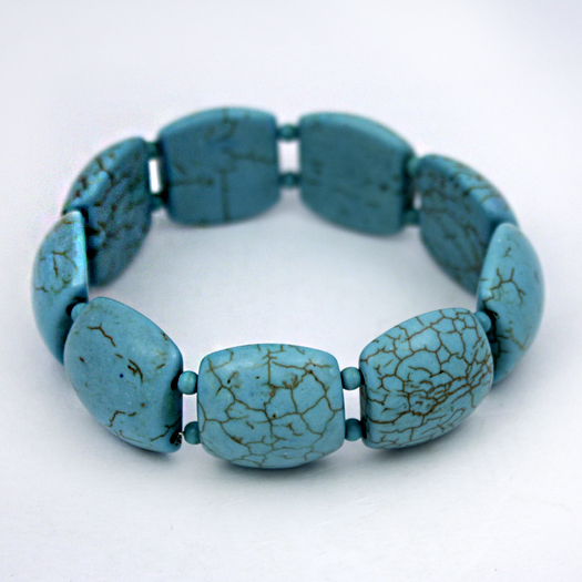 610057-TURQ - WHOLESALE WESTERN TURQUOISE STRETCH BRACELETS