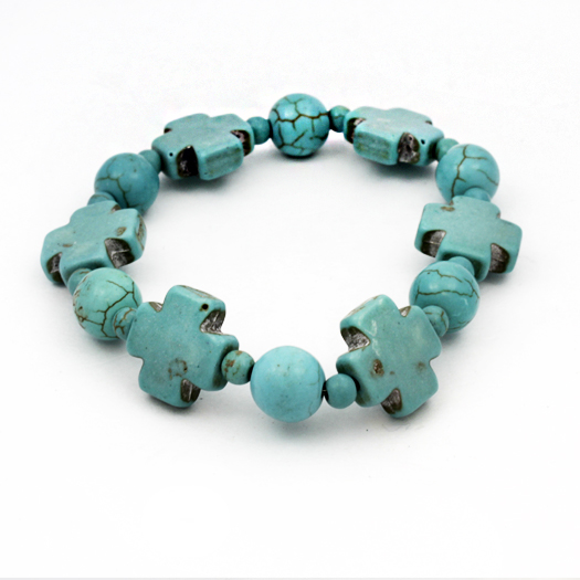 610058-TURQ - WHOLESALE WESTERN TURQUOISE STRETCH BRACELETS