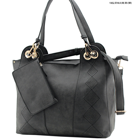 61688-BLACK - NEW DESIGNER INSPIRED RUNWAY PURSES