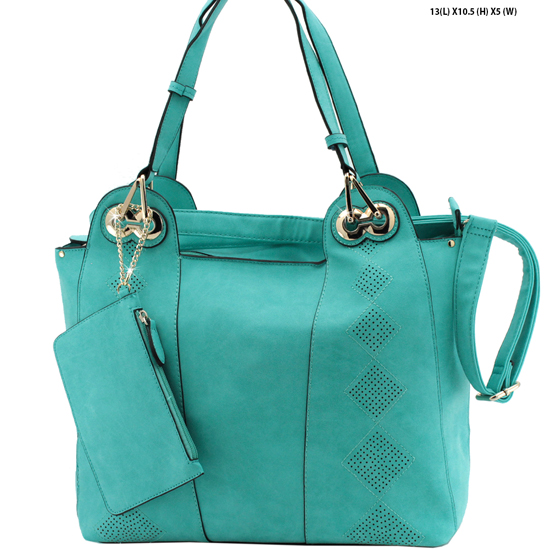 61688-TEAL - NEW DESIGNER INSPIRED RUNWAY PURSES