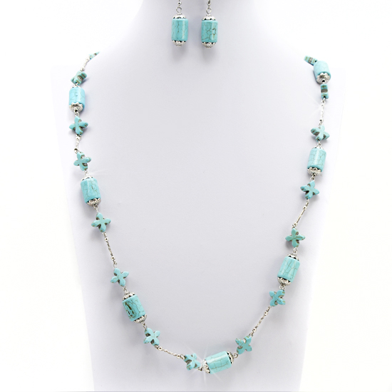 65092-(2PC-SET) - WHOLESALE WESTERN TURQ STONE NECKLACE SET