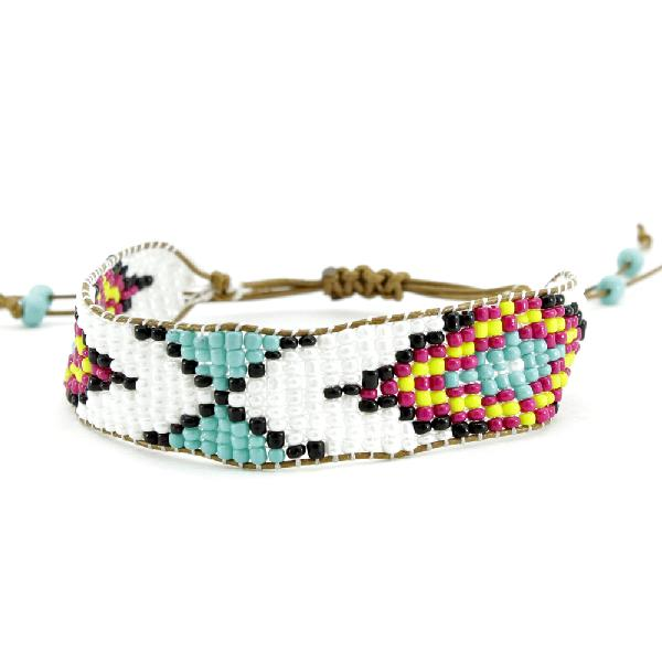 710445-TURQ - WHOLESALE ADJUSTABLE BEAD AZTEC INDIAN LOOK BRACELET